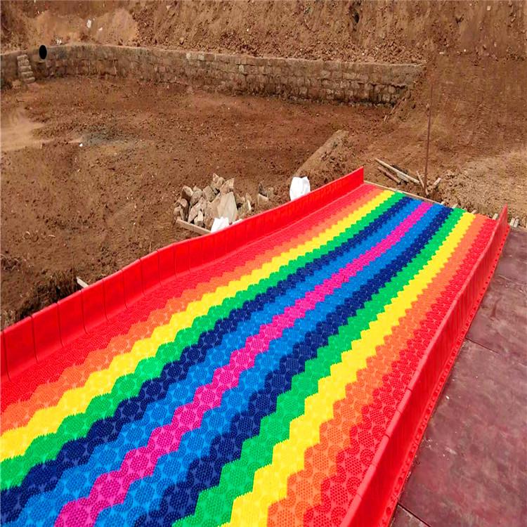 网红打卡地彩虹滑道 七彩旱滑滑梯 厂家直供景区山坡滑道