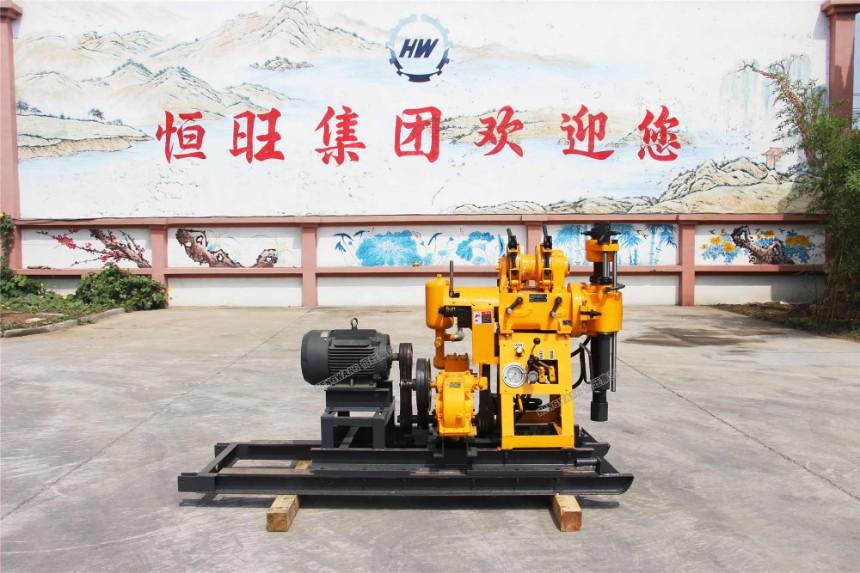 液压水井钻机山东恒旺160带滑道地质勘探小型打井机 液压打井机