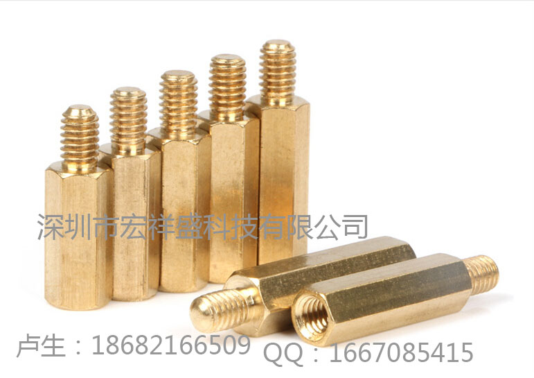 深圳宏祥盛六角铜柱通孔铜柱隔离铜柱精密五金加工