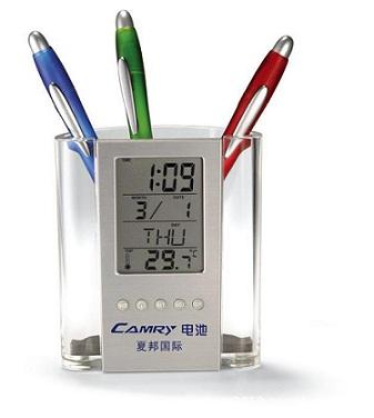 办公文具礼品时钟显示多功能笔筒