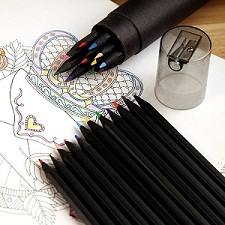 彩色桶装黑木铅笔带卷笔