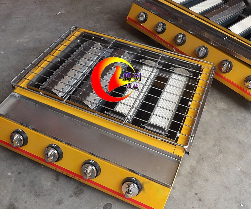 大六头加宽煤气烧烤炉,多功能烤扇贝烤海鲜烤生蚝烧烤机