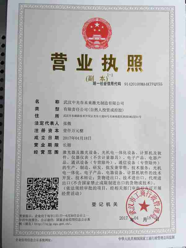 武汉中光谷未来激光制造有限公司