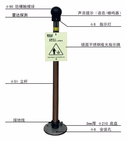西安深蓝电工FJDEX型防爆人体静电释放器