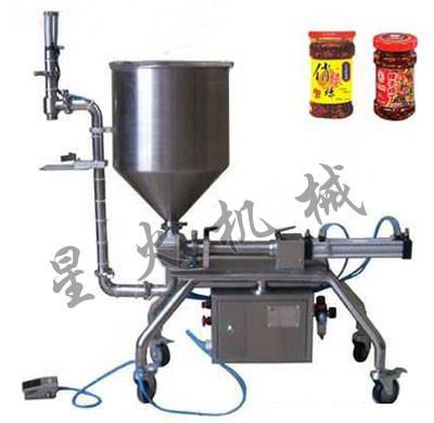 李锦记半自动芝麻酱灌装机/搅拌式牛肉酱灌装机/意面酱灌装机