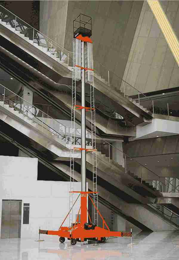 洛阳市 老城区厂家直销启运套缸式升降机  小型室内高空作业平台